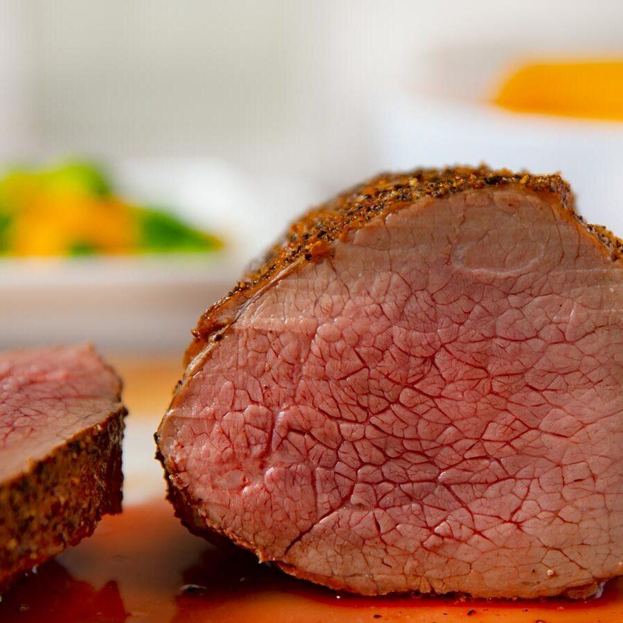 Roast Beef Roast sliced on cutting board