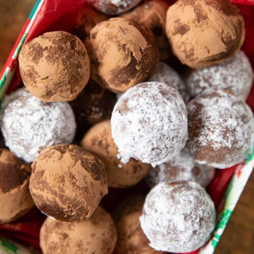 Rum Balls with powdered sugar and cocoa powder