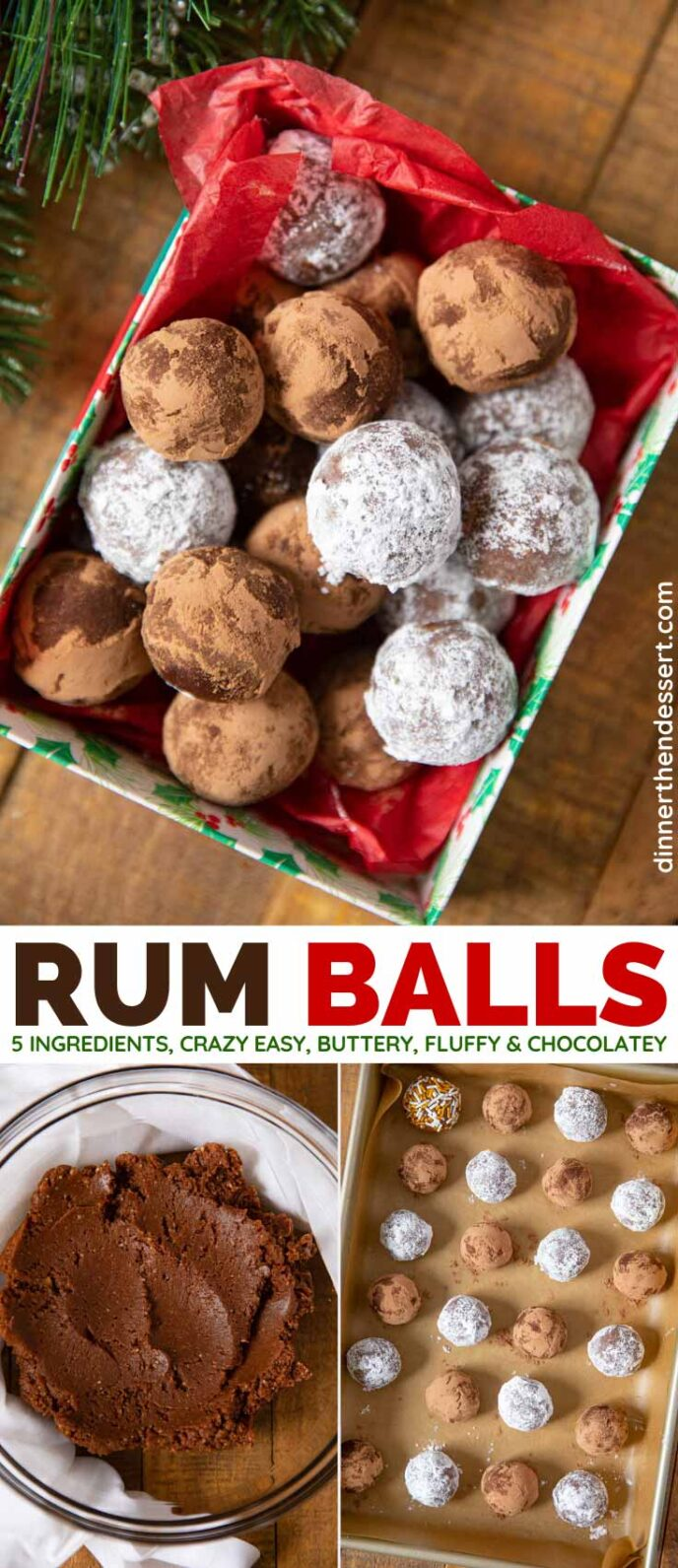 Chocolate Rum Balls collage