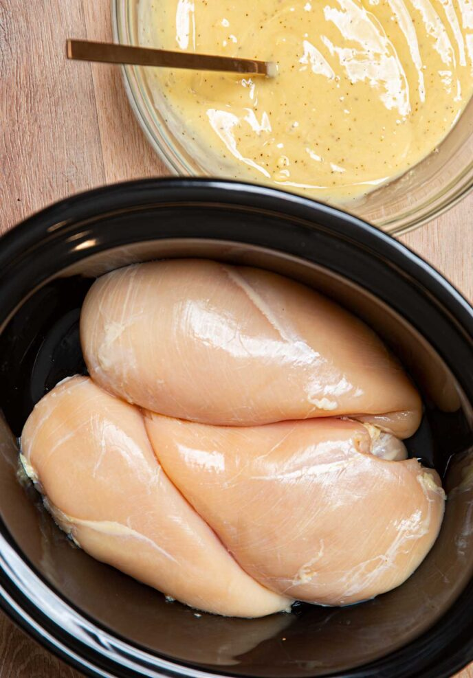 Raw Chicken Breast with Gravy Ingredients Mixed