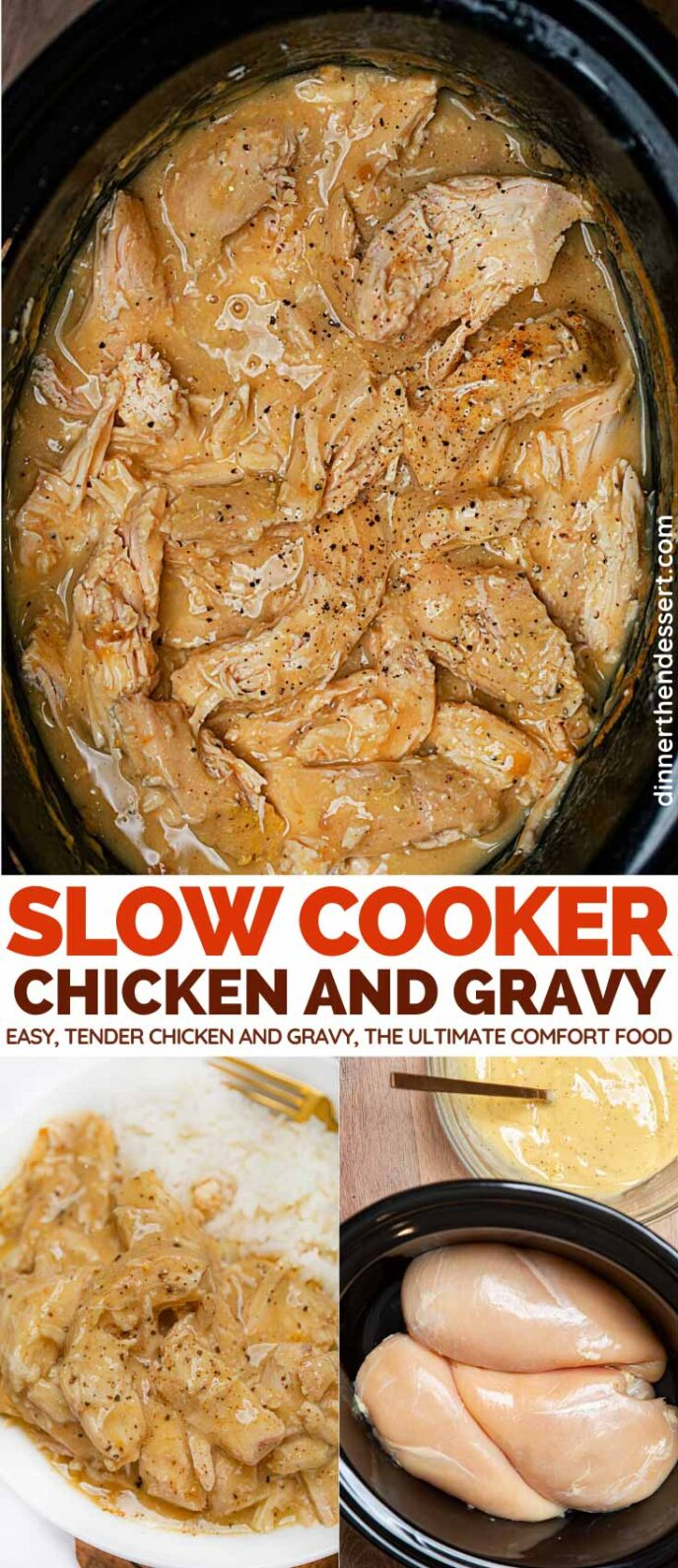 Crockpot Chicken and Gravy collage