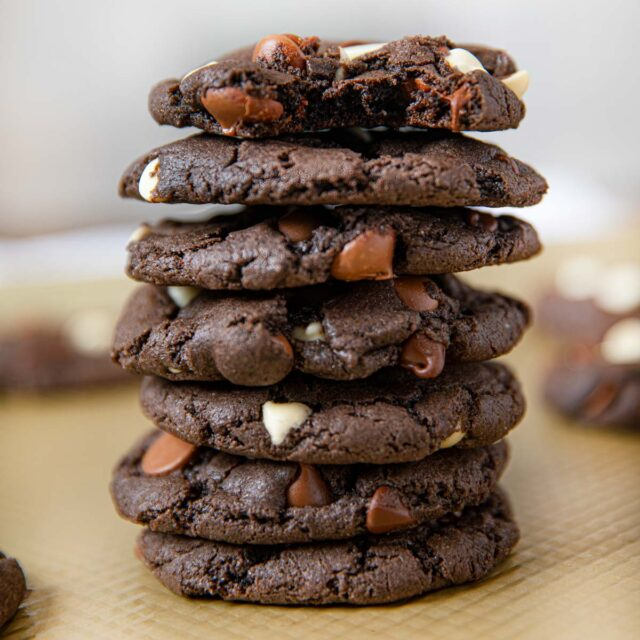 Triple Chocolate Cookies in stack