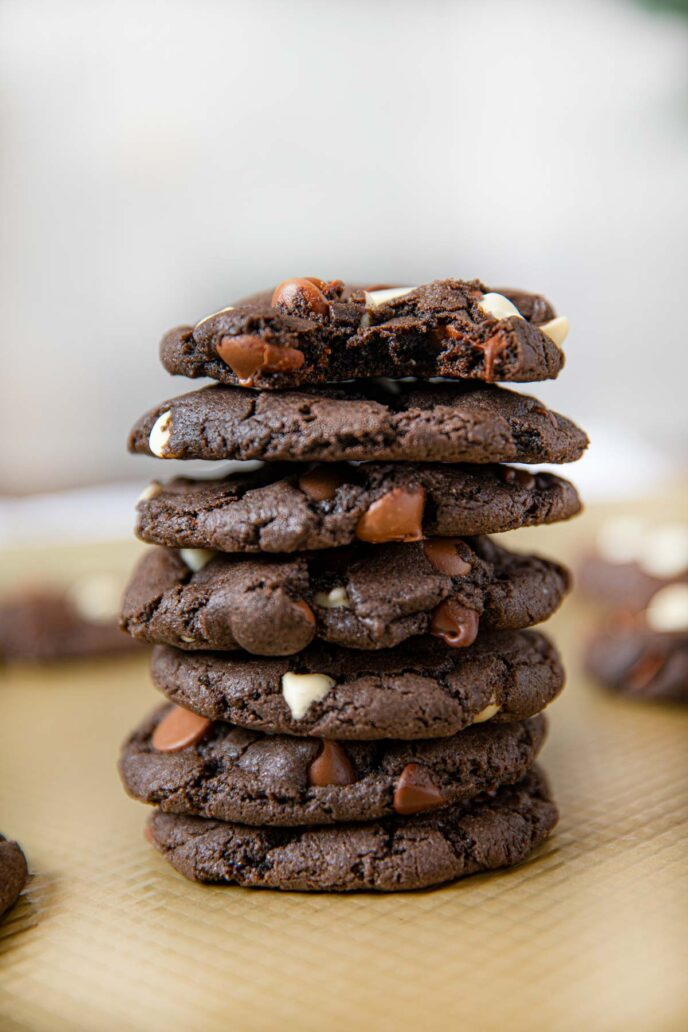 Triple Chocolate Cookies in stack
