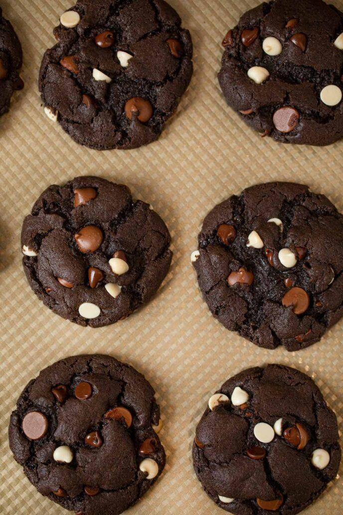 Triple Chocolate Cookies on cookie sheet