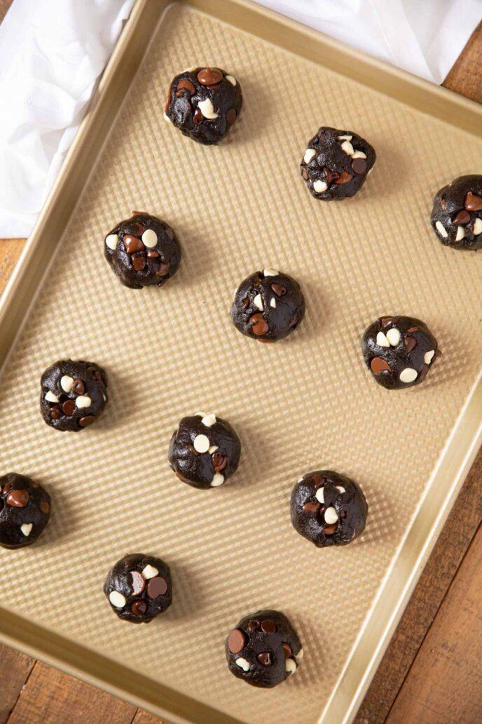 Triple Chocolate Cookies on cookie sheet before baking