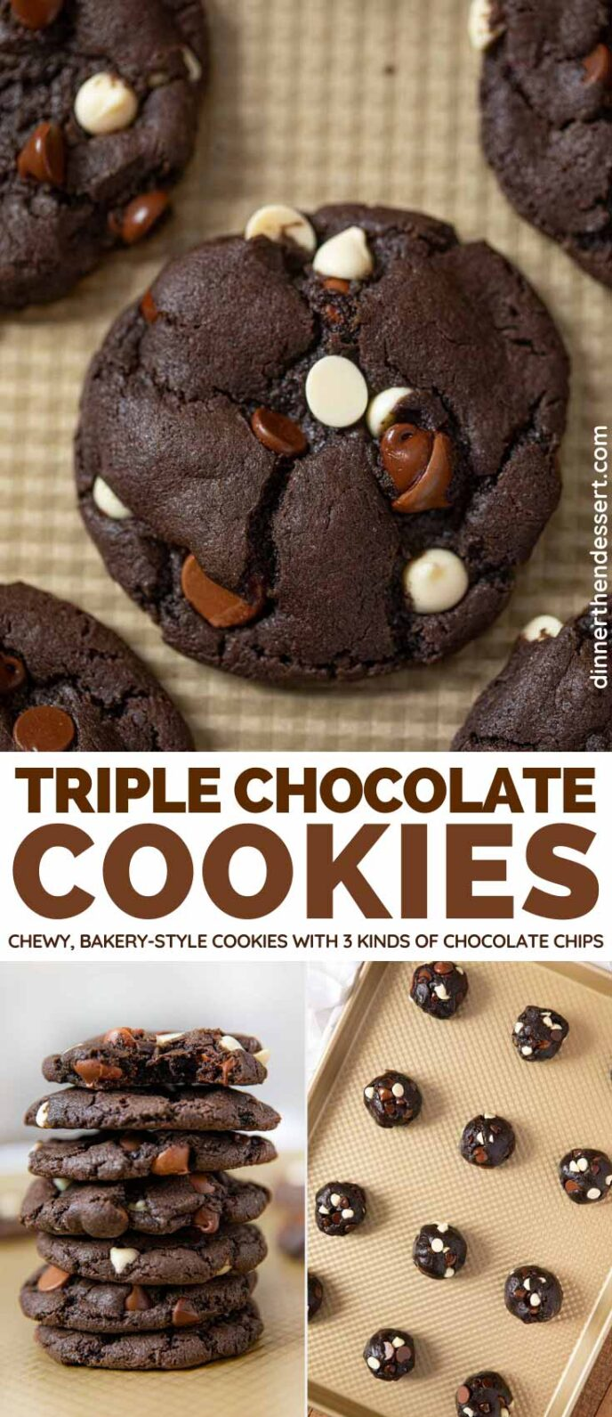 Triple Chocolate Cookies collage
