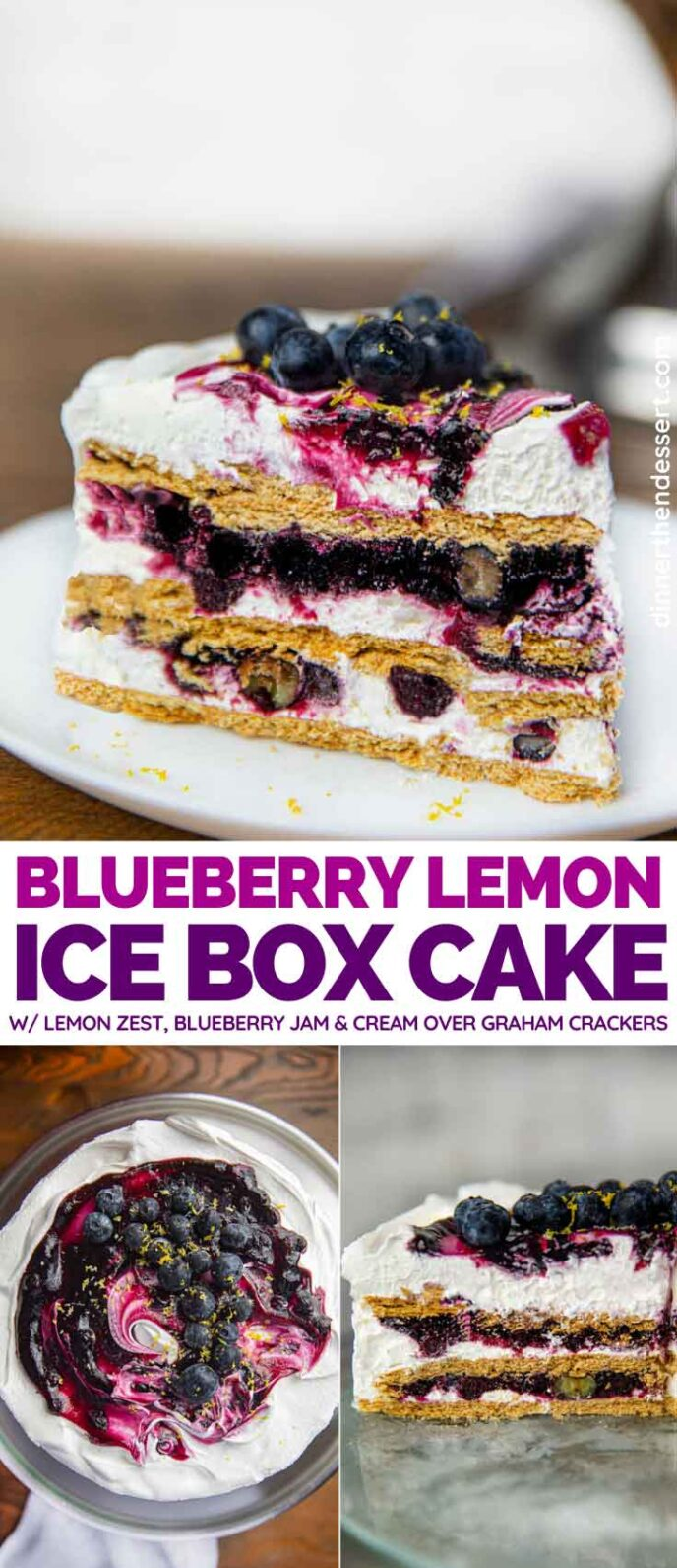 Blueberry Lemon Icebox Cake collage