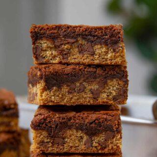 Chocolate Chip Cookie Brownies (Brookies) in stack