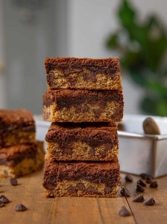 Chocolate Chip Cookie Brownies (Brookies) in stack