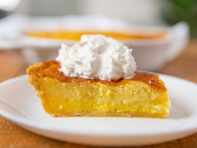 Buttermilk Pie slice on plate