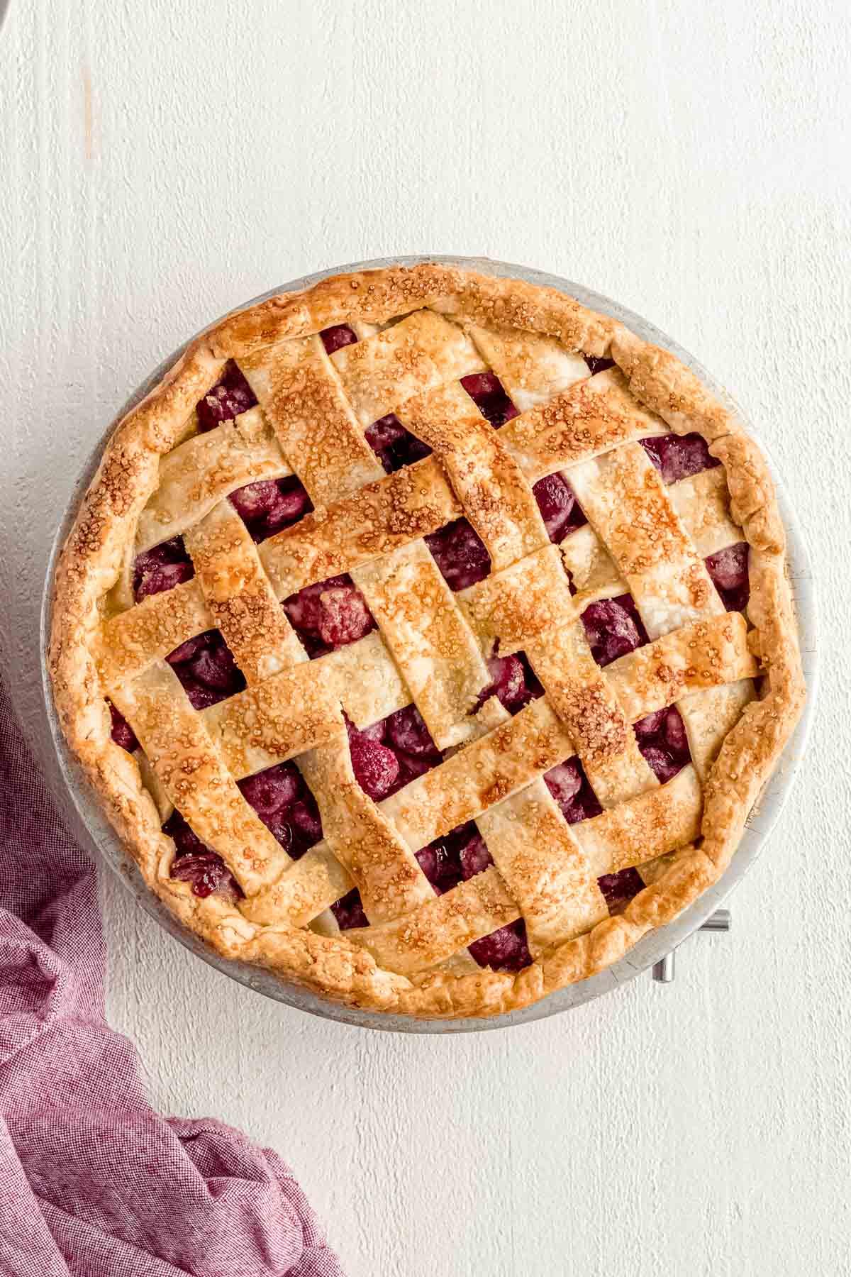 Cherry Pie in pie plate