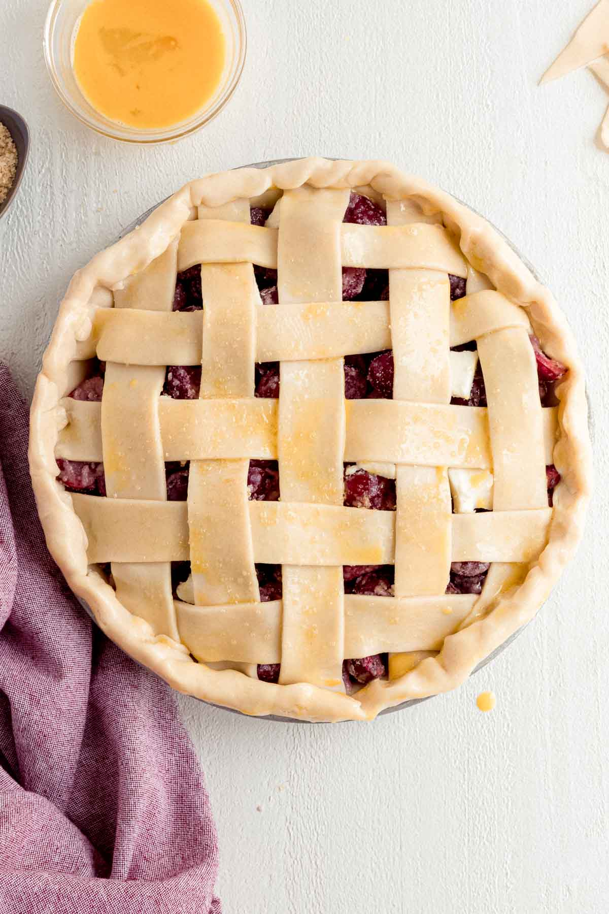 Cherry Pie with lattice crust before baking