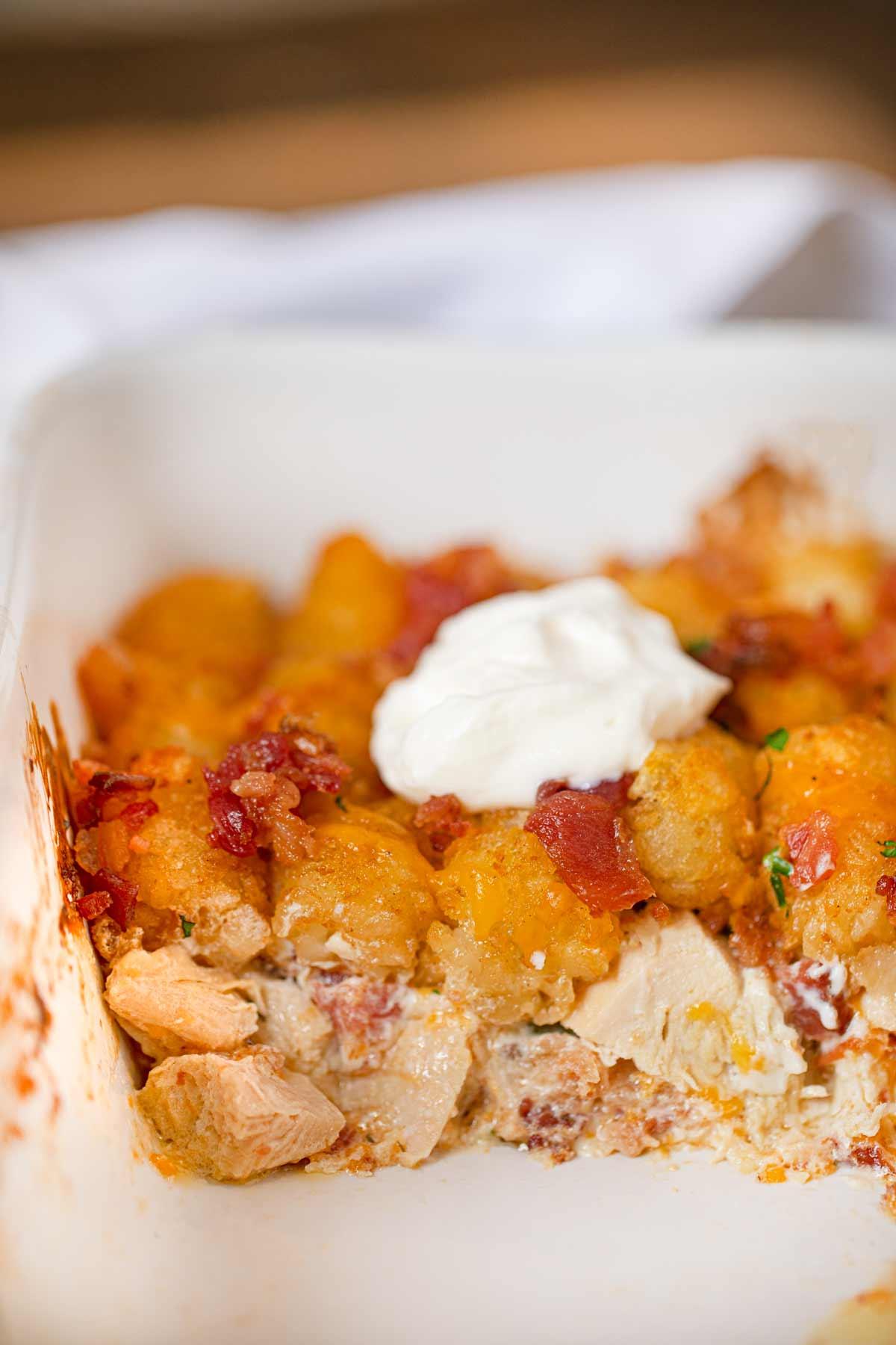 Chicken Bacon Ranch Tater Tot Casserole Recipe Dinner Then Dessert