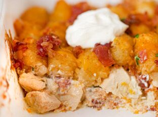 Chicken Bacon Ranch Tater Tot Casserole cross-section in baking dish