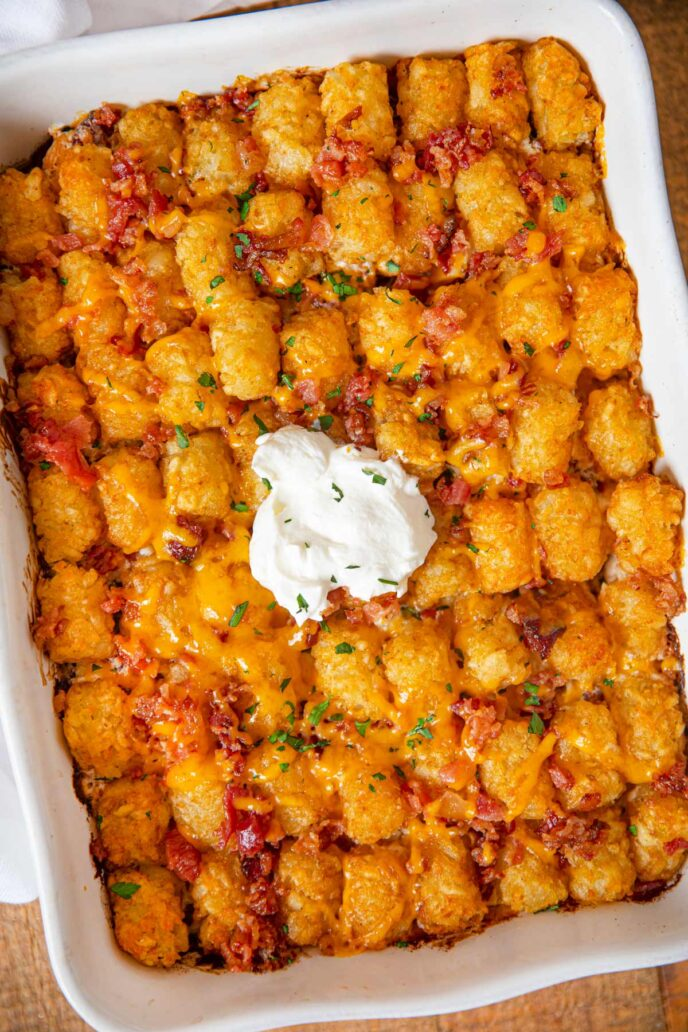 Chicken Bacon Ranch Tater Tot Casserole top-down in baking dish