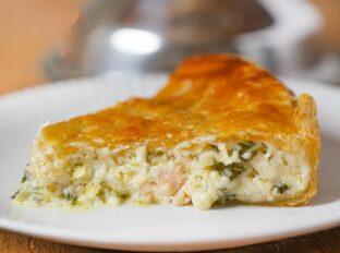 Chicken & Spinach Pie slice on plate