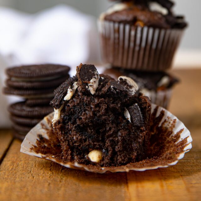 Chocolate Oreo Muffins cut in half