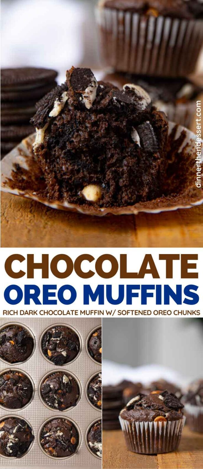 Chocolate Oreo Muffins collage
