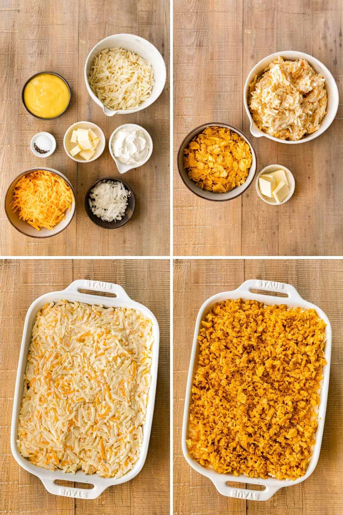 Funeral Potatoes collage of prep steps