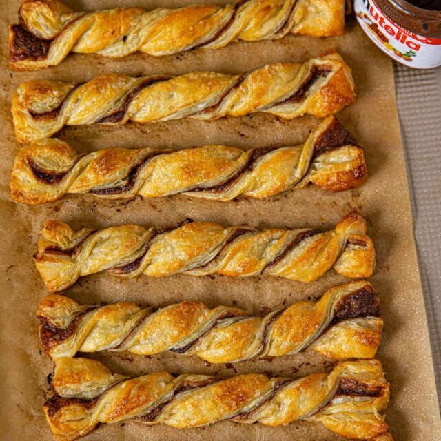 Nutella Pastry Twists on baking sheet