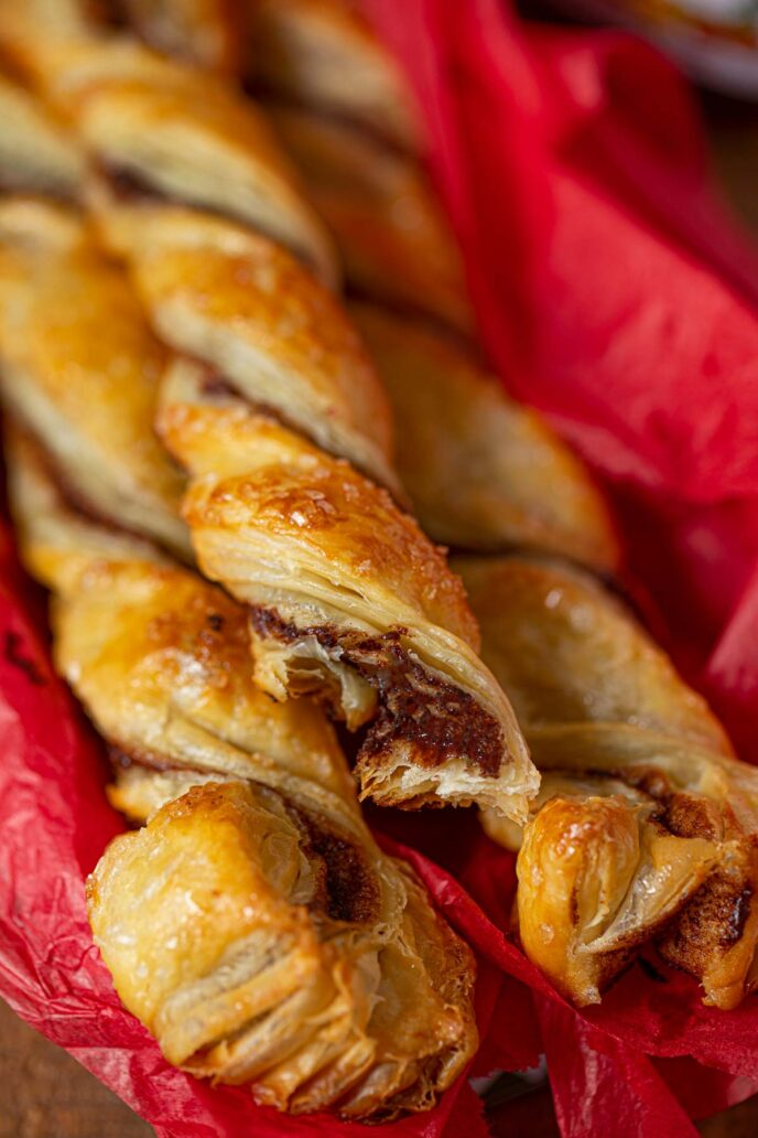 Nutella Pastry Twists close up