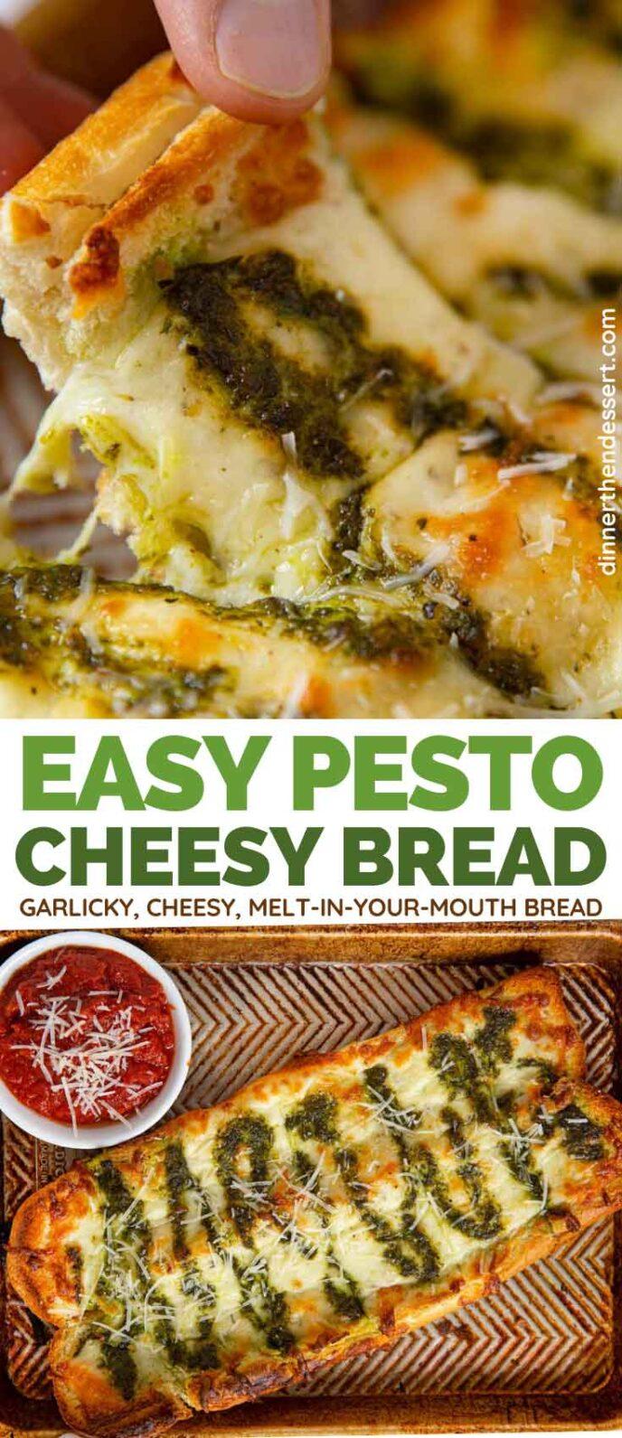 Pesto Cheesy Bread collage