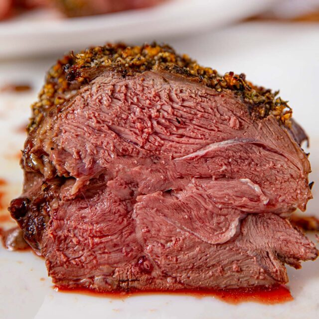 Roast Leg of Lamb close up sliced