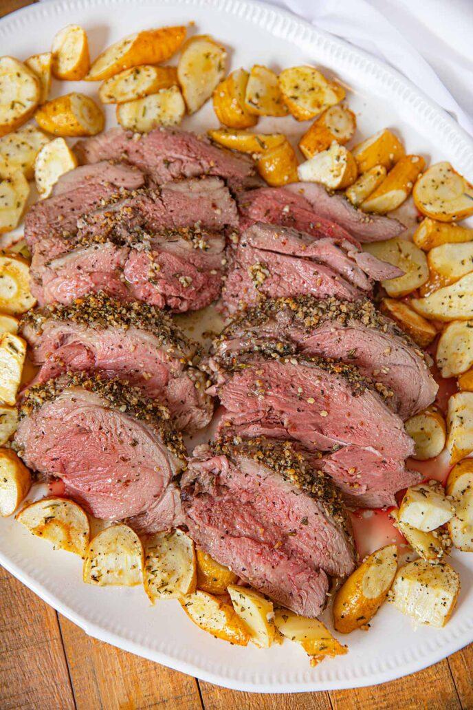 Roast Leg of Lamb on serving platter
