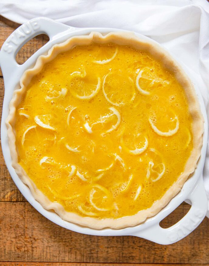 Shaker Lemon Pie in pie plate, unbaked