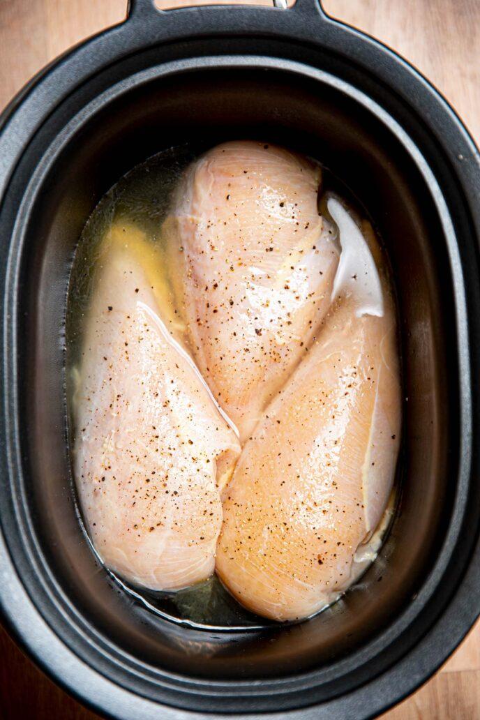 Slow Cooker Chicken Breast in crock pot before cooking