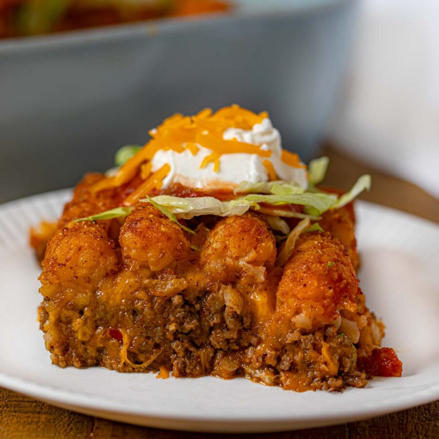 Taco Tater Tot Casserole on plate