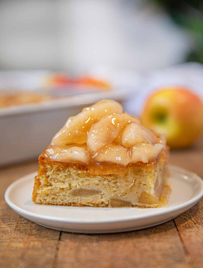 Apple Cake topped with Apple Pie Filling slice on plate
