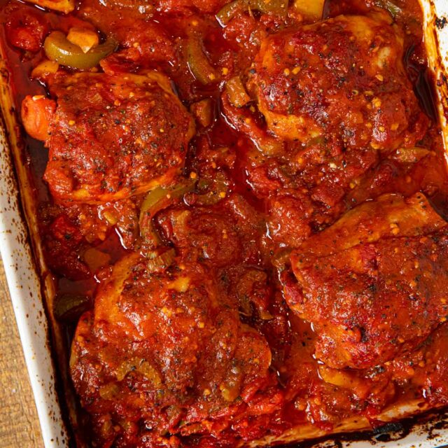 Baked Chicken Cacciatore in baking dish