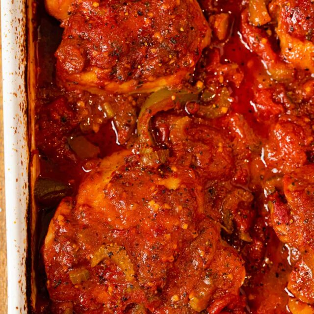 Oven Roasted Chicken Cacciatore in baking dish