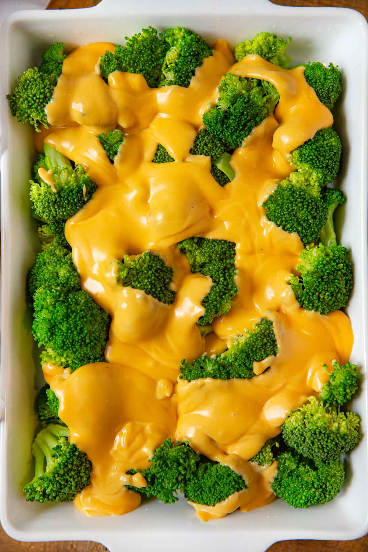 Broccoli in Cheese Sauce top-down view