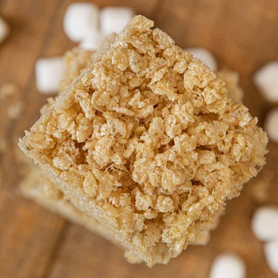 Brown Butter Rice Krispies Treats in stack, top-down view