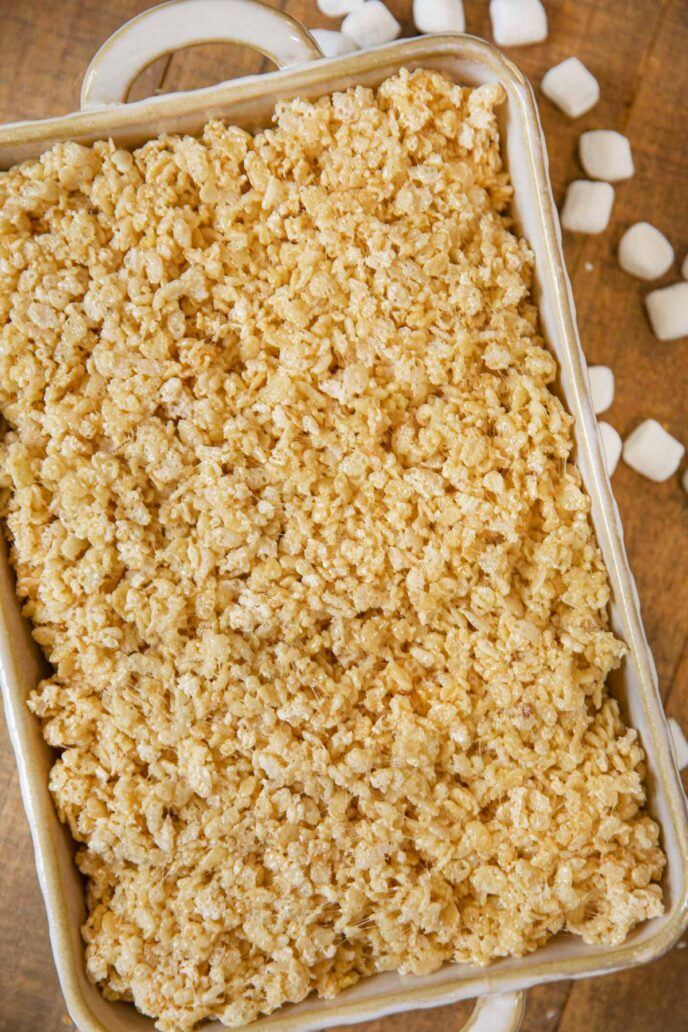 Brown Butter Rice Krispies Treats in baking dish