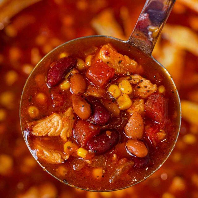 Chicken Taco Soup scoop in ladle