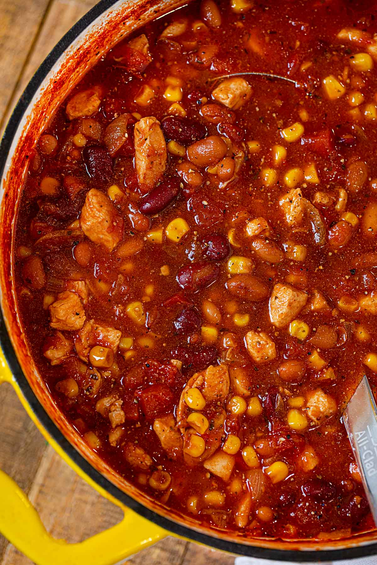 Chicken Taco Soup in pot close up