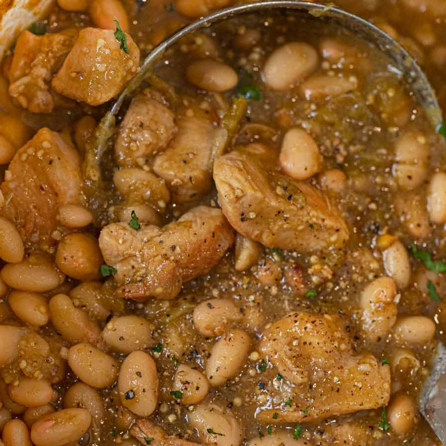 Chicken Tomatillo Soup close-up in pot