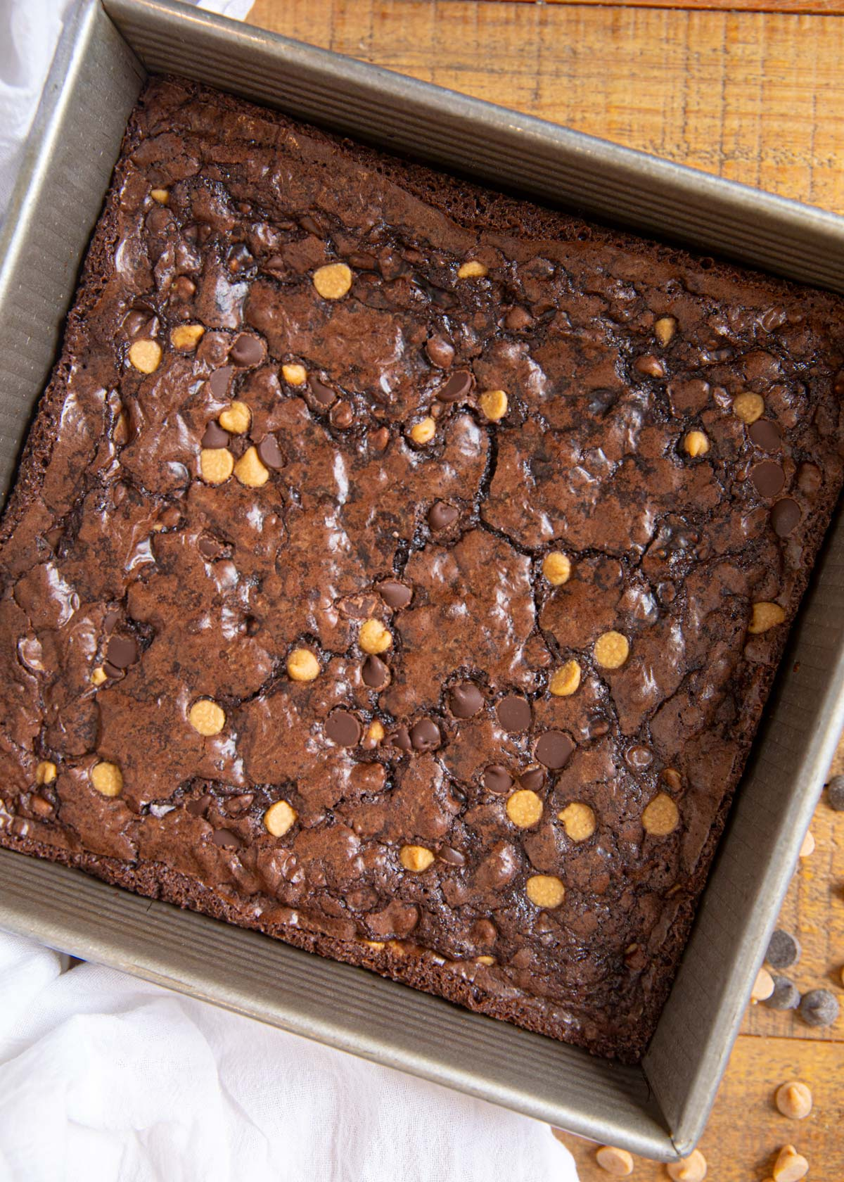 Chocolate Peanut Butter Chip Brownies top-down view in baking pan