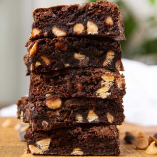 Chocolate Peanut Butter Chip Brownies in stack