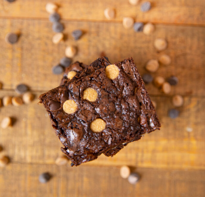 Peanut Butter Chocolate Chip Brownies top-down view