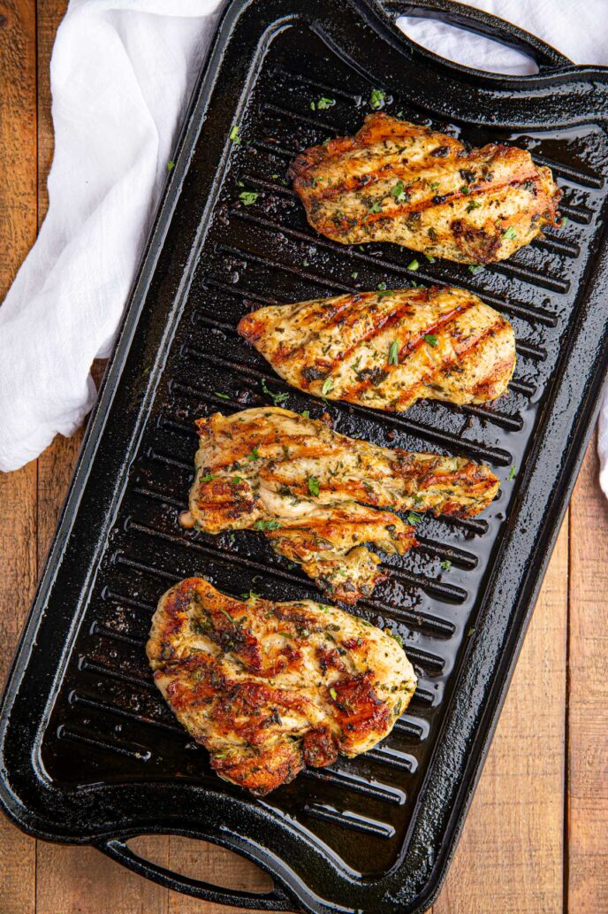 Four pieces of Cilantro Lime Chicken on grill pan