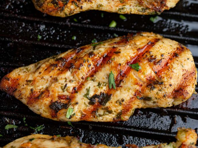 Cilantro Lime Grilled Chicken on grill pan