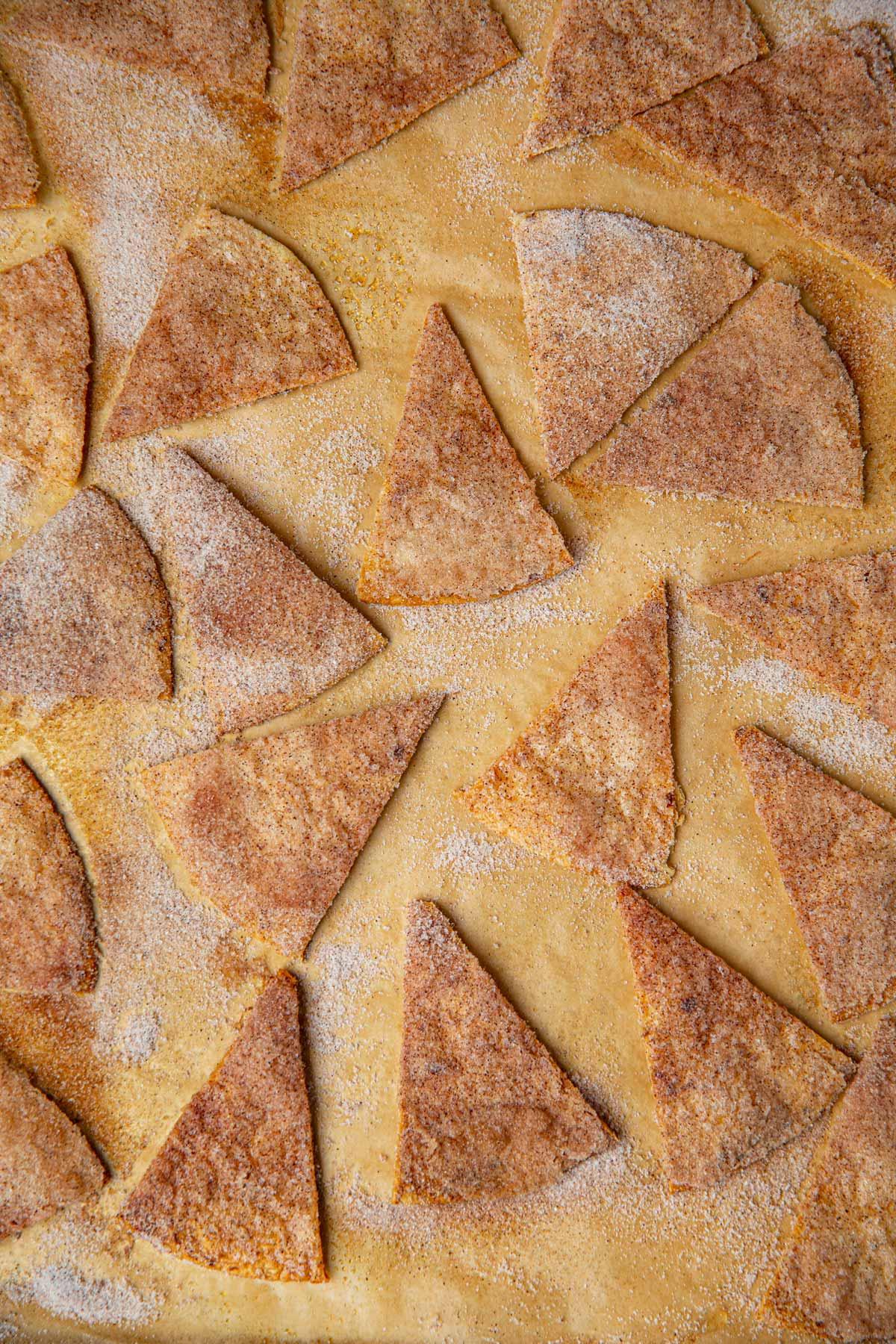 Cinnamon Sugar Tortilla Chips on baking sheet