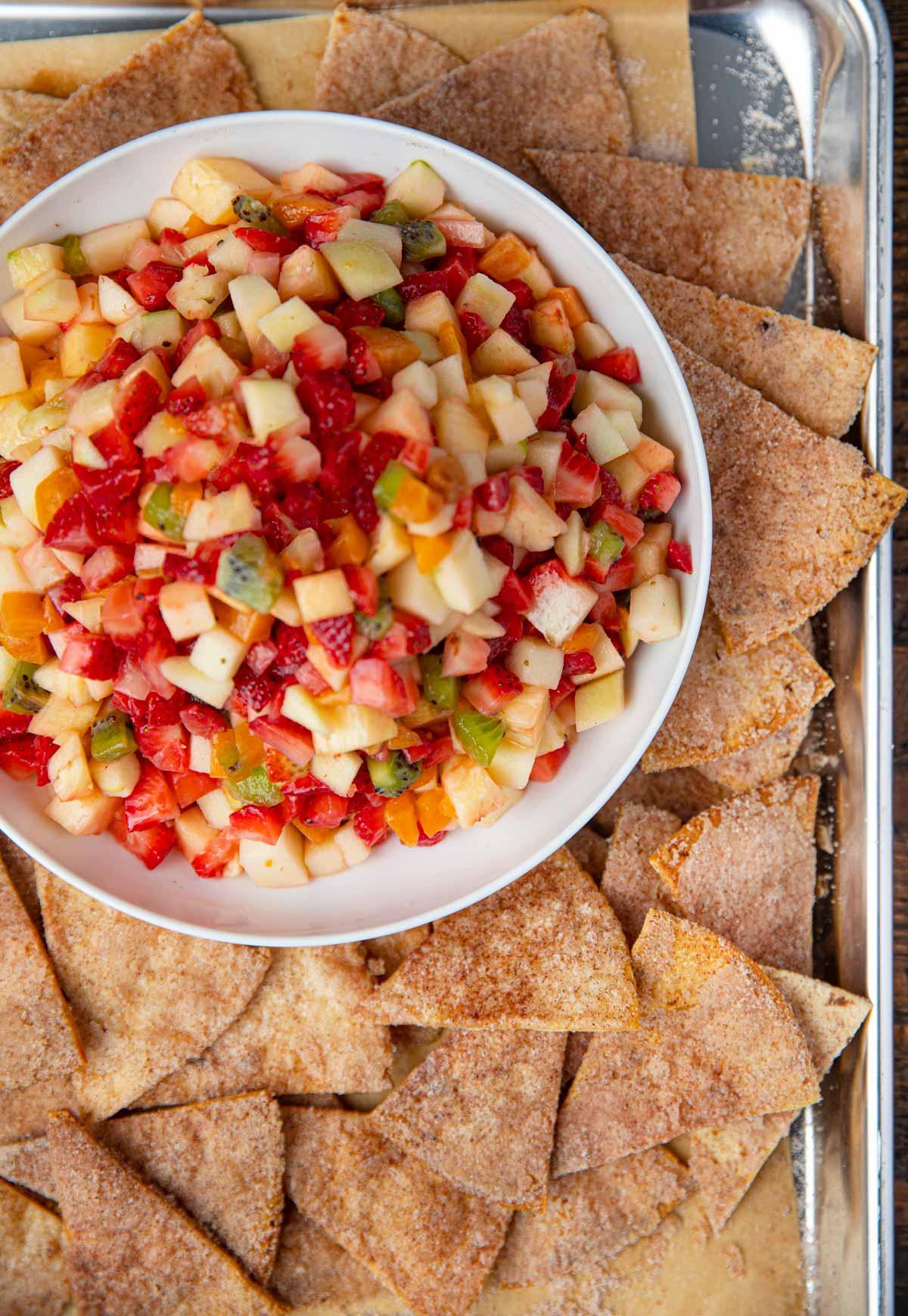 Cinnamon Sugar Chips with fruit salsa