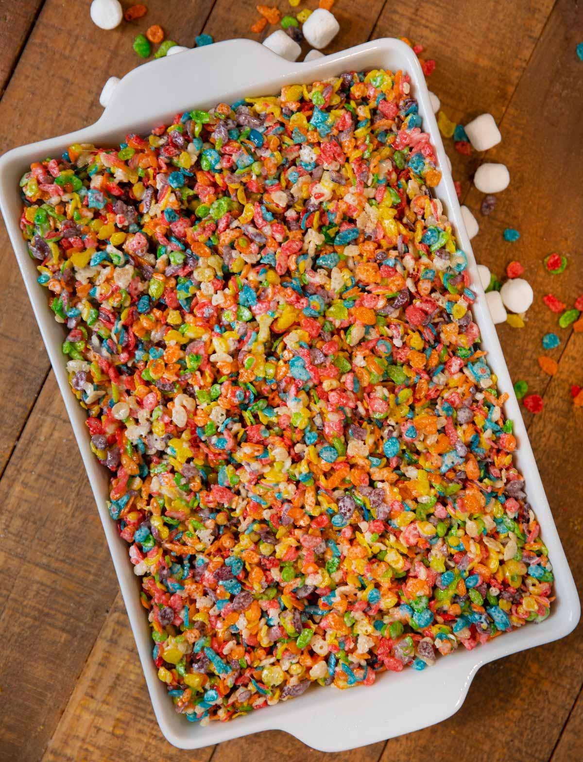 Fruity Pebbles Treats in cake pan