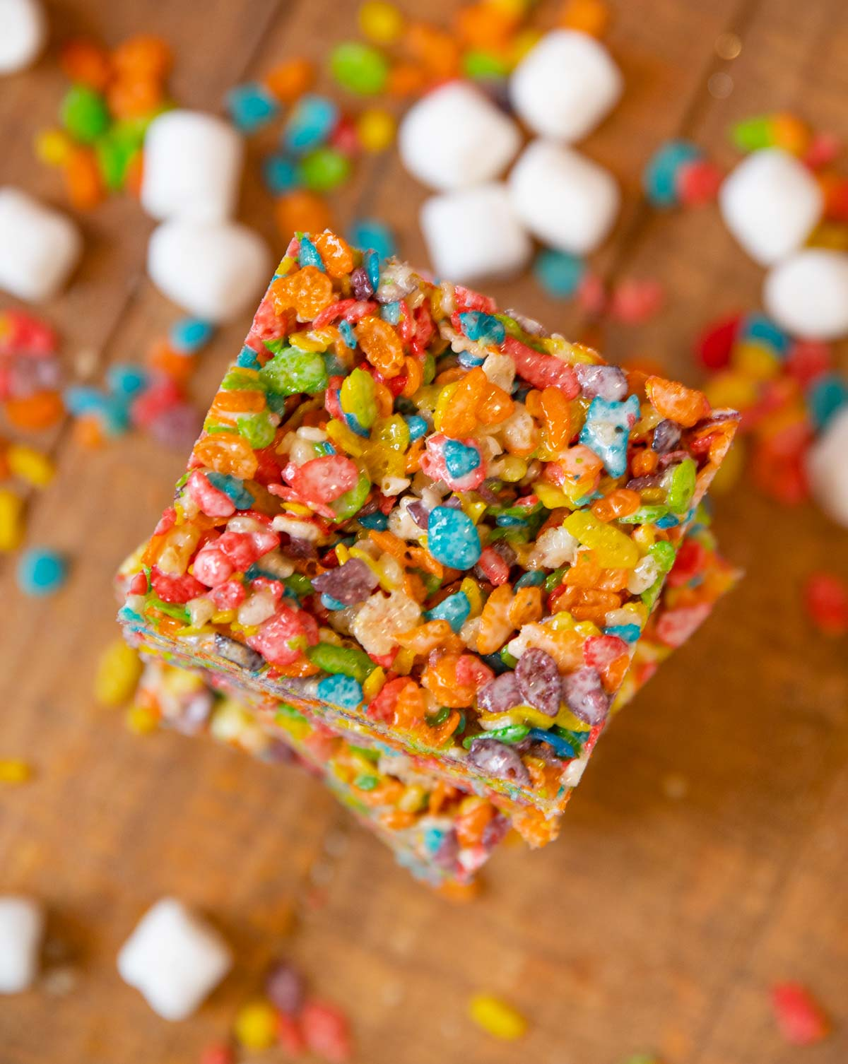 Rainbow Fruit Cereal Treats top-down view