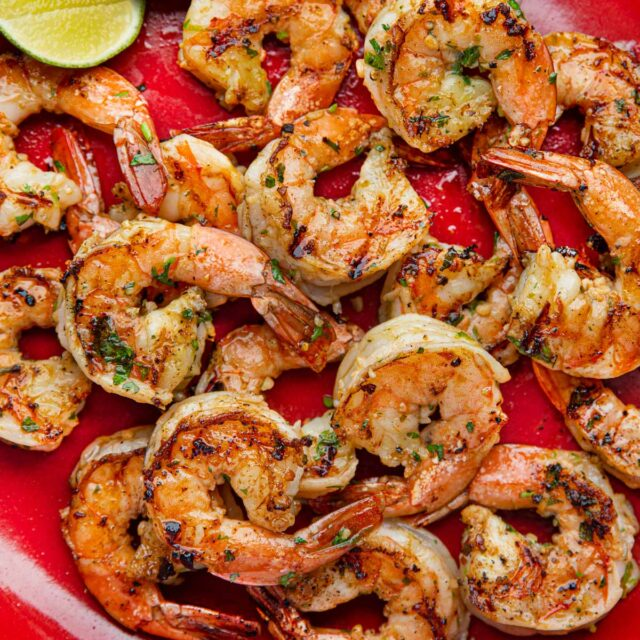 Grilled Cilantro Lime Shrimp on plate